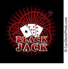 Black Jack - Vectorial composition with three cards and...