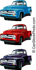old-fashioned pickup - Vectorial icon set of American old-...