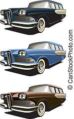 old-fashioned station wagon - Vectorial icon set of American...
