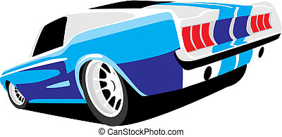 blue muscle car - vectorial image of blue muscle car