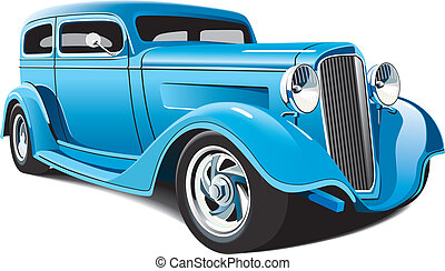 vectorial image of light blue hot rod, isolated on white background. File contains grdients, blends and mesh. No strokes.