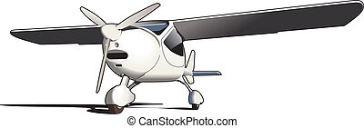 Vectorial image of modern sporting airplane isolated on white background
