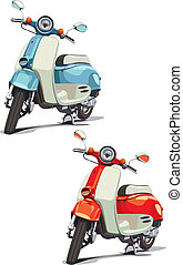 vectorial image of old-fashioned scooter, executed in two variants of color. Every scooter is in separate layer. No blends and gradients.