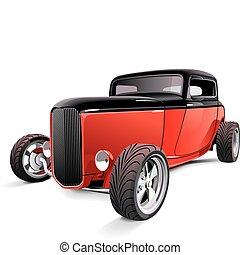 red hot rod - Vectorial image of red hot rod, isolated on...
