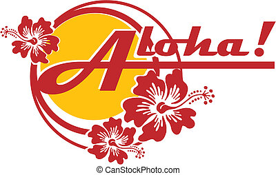 "Vectorial on Hawaiian themes with inscription ""Aloha!"". Work can used such as logo. No gradients and blends."
