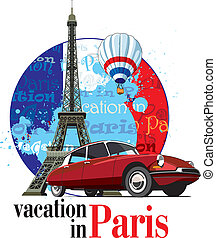 Vacation in Paris - Vectorial round vignette on theme of...