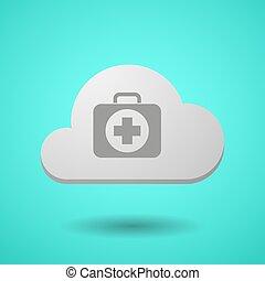 vectorial, satz, ikone, hilfe, wolke, zuerst