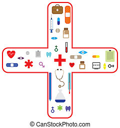 vectoricon, industrie, santé, ensemble, soin, monde médical
