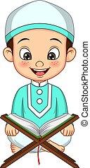Cartoon muslim boy reading Quran