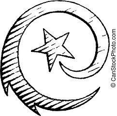 vectorized, croquis, étoile, encre