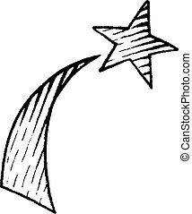 vectorized, croquis, étoile filante, encre