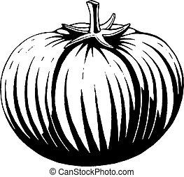 vectorized, inchiostro, schizzo, di, uno, pomodoro