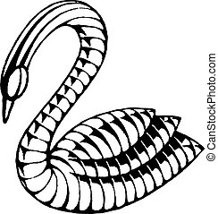 Vectorized Ink Sketch of a Swan
