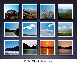 vectorized, landscape, afbeeldingen