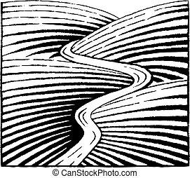 vectorized, schizzo, fiume, colline, inchiostro
