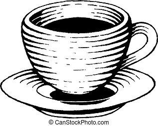 vectorized, schizzo, inchiostro, tazza caffè