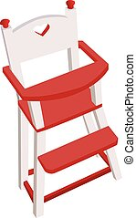 Vectorized wooden high chair, children safe chair with a...