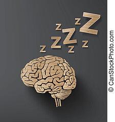 vector of sleep concept with brain. info graphic cardboard design.