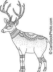 vector.reindeer, arrière-plan., noël blanc, joyeux