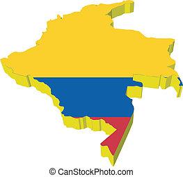 vectors, 3d, 地図, の, コロンビア