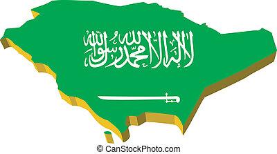 vectors 3D map of Saudi Arabia