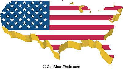 vectors 3D map of USA