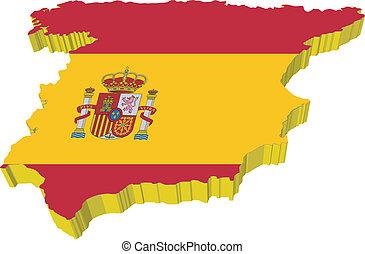 vectors, 3d, mapa, de, espanha