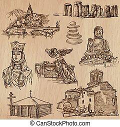 vectors, autour de, -, religion, mondiale, freehand, meute