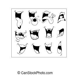 vectors, bouche, dessin animé
