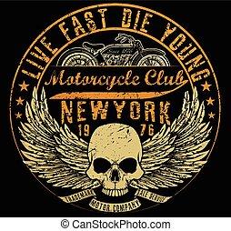 vectors, camiseta, gráficos, motocicleta, tipografía