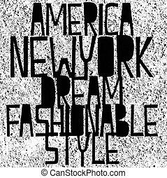vectors, camiseta, tipografía, york, gráficos, nuevo, américa