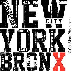 vectors, città, newyork, slogan, t-shirt, tipografia, ...