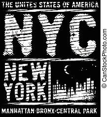vectors, ciudad, newyork, lema, camiseta, tipografía, ...