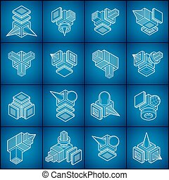 vectors, collection., résumé, formes, ingénierie, 3d