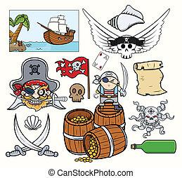 vectors, conjunto, pirata