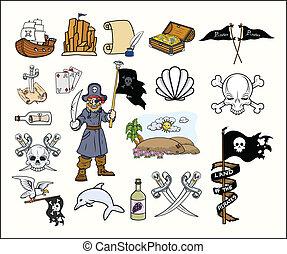 vectors, conjunto, piratas, caricatura