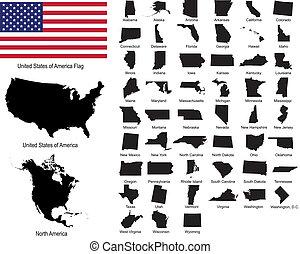 vectors, de, estados unidos de américa, estados