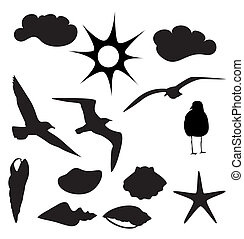 Vectors designs of gulls and sea sh - Is a editable eps...