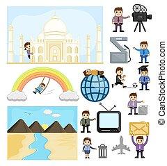 vectors, divers, dessin animé, concepts