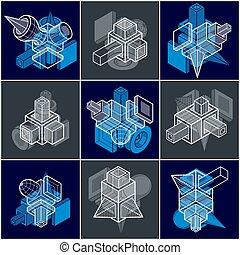 vectors, géométrique, set., simple, 3d, formes, résumé