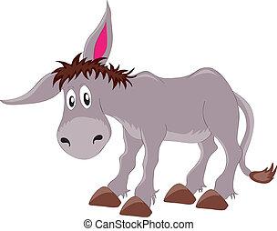 donkey - vectors illustration shows a gray donkey