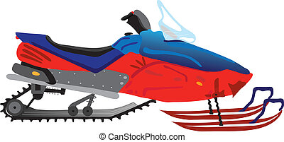 snowmobile - vectors illustration shows a red snowmobile