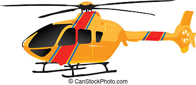 vectors illustration shows a yellow helicopter