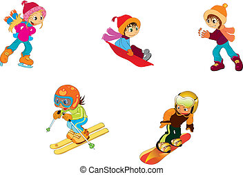 children - vectors illustration shows children playing in ...