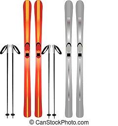 ski - vectors illustration shows skis and poles
