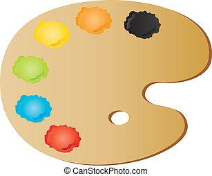 painter's palette - vectors illustration shows the painter's...