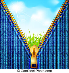 Vectors jeans background with a zipper and a landscape in which the blue sky and grass