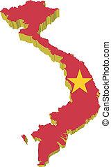 vectors, mapa, 3d, vietnam