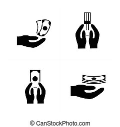vectors Money in the hand icons