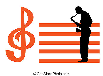 musician - vectors musician with a saxophone on the...